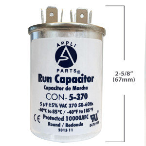 Appli Parts Condensador Capacitor de ventilador 2 mfd (microfaradios) uf 450VAC con conectores compatible con cualquier marca de igual capacitancia 3.7cm Ancho 1.5cm Prof 3.4cm Alto CAP-2-450